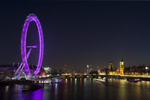 The London Eye and Houses of Parliament on the Thames by night