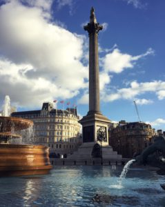 Fountains and Nelson's column at Trafalgar Square, London
