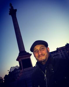 Gary Tomkins in front of Nelson's Column in Trafalgar Square